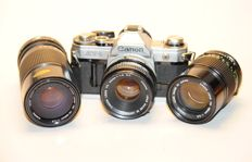 Canon FD set, Canon AT-1 with 50mm + Canon 135mm portrait lens + Canon zoom 70-150mm