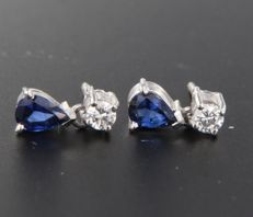 18k white gold ear studs set with sapphire and brilliant cut diamond, measurement 1.1 cm x 6.1 mm wide ****no reserve price****