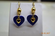 Earrings in 18 kt/750 yellow gold and lapis lazuli - Heart-shaped - Dimensions: 4 x 1.5 cm