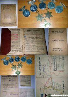 Lot of Original Documents and Decorations Second World War WWII - Normandy D Day Landings - 246 FIELD COMPANY ROYAL ENGINEERS - Edwin Granville Richards