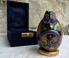 "Authentic egg Laurel Burch - 1996 - Collection ""Flowering Feline"" - porcelain -  gold plated finish -  signed - numbered"