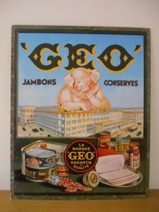 Advertising sign for ' Geo ' jambon from 1960.