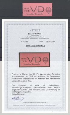 GDR of East Germany ZKD D Michel no. 2 ** MNH, BPP photo attest (16560)