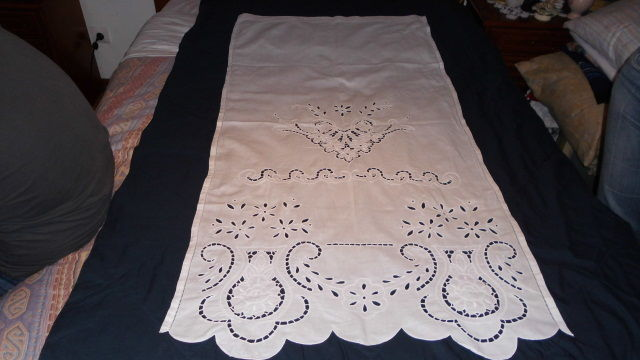 100% cotton curtain with handmade embroidered fretwork from Portugal, 20th century