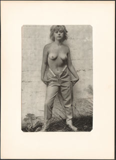 Unknown photographer - Half nude model in courtyard