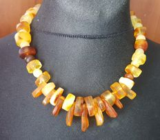 Authentic Natural Baltic amber necklace with pendant multi colour, 66 grams