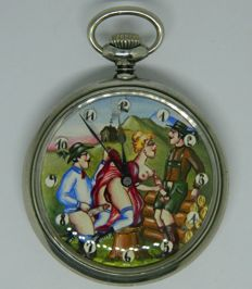 Doxa Erotic Pocket Watch - Sex in the forest ~circa 1910
