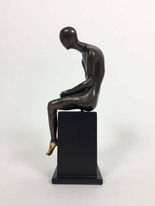 Abstract Sitting Person Statue of Bronze - European