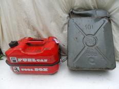Paddy Hopkirk toolbox and fuel can in one plus 10 litres jerrycan - 1960s, 1970s