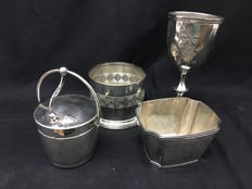 Lot of 4 antique silvery metal objects Gorham, Willis, Rogers bros,