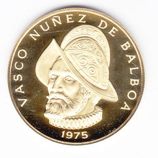 Panama – 100 balboa 1975, 500th anniversary – birth of Balboa – gold