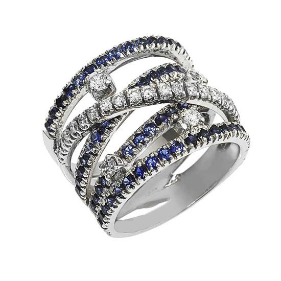 Ring in 18 kt gold with 0.70 ct natural diamonds and 1.70 ct natural sapphires