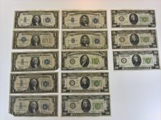 USA - 13 banknotes - various dollars - 1928/1934