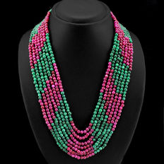 Necklace with seven strands of emeralds and rubies, 588 ct