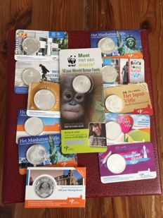 The Netherlands – Collection of 12 coin cards 2006/2015 + 3 coin albums with a batch of Dutch guilders/cents