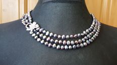 925 silver 3 strand natural cultured freswater pearl necklace , lengh 50cm