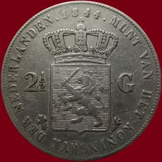 The Netherlands - 2½ guilder coin, 1844, Willem II - silver.