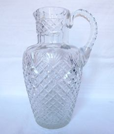 Large richly cut pitcher in Baccarat crystal, France, 1890-1900 period