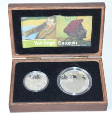 France and The Netherlands - 1 1/2 Euro 2003 'Gauguin' + 5 Euro 2003 'Vincent van Gogh' (2 pieces) in set - silver
