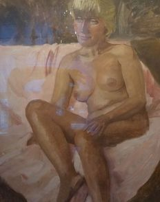 Unknown (20th century) - Naked woman on a couch in soft tones