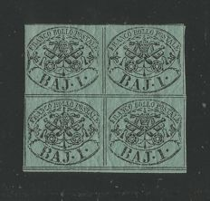Papal States 1852, 4 used samples and 1 new sheet of four