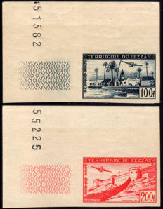French Occupation of Fezzan Ghadamès, 1948 – Airmail, non-perforated, 2 stamps
