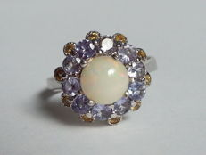 Silver ring with natural fire opal, tanzanite and yellow sapphire stones