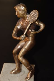 Brass statue of tennis player - 20th century
