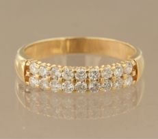 18 kt yellow gold double row Riviera ring, set with 18 brilliant cut diamonds, ring size 17 (53) ****NO RESERVE****