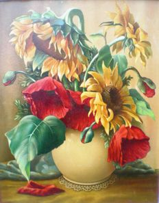 Unknown (20th century) - floral still life with sunflowers and poppies