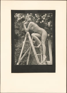 Unknown photographer - Open air nude pose on adder