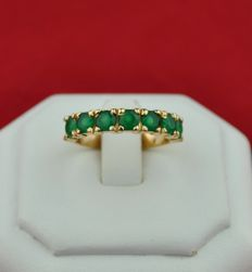 Green Jade Ring, Set On Yellow 18k Gold in Half-setting - E.U Size 56 resizable