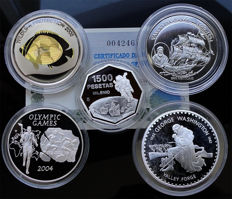 World - Lot assorted coins 1982/2005 (5 different) including 4x silver