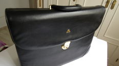 Maurice Lacroix black leather briefcase
