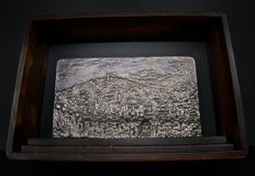 Bas-relief in silver-plated bronze, author: Amyr Arye, subject: the City of Jerusalem