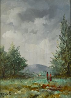 H Zalata. (20th century) - Figures in a country landscape.