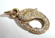 Clasp for pearl necklace - huge snap hook clasp set with diamonds made of 14 kt / 585 gold, approx. 0.70 ct