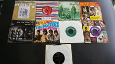 "Beatles - 7"" collection from 9 Singles in original picture sleeves and very rare purple and green labels."