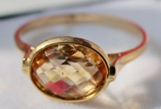14 kt yellow gold ring set with citrine, ring size: 17.75