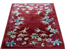 Beautiful Chinese Art Deco Flower Pattern Hand Knotted Woolen Carpet 147cmx77cm.Take into account there is no reserve price, bidding 1euro