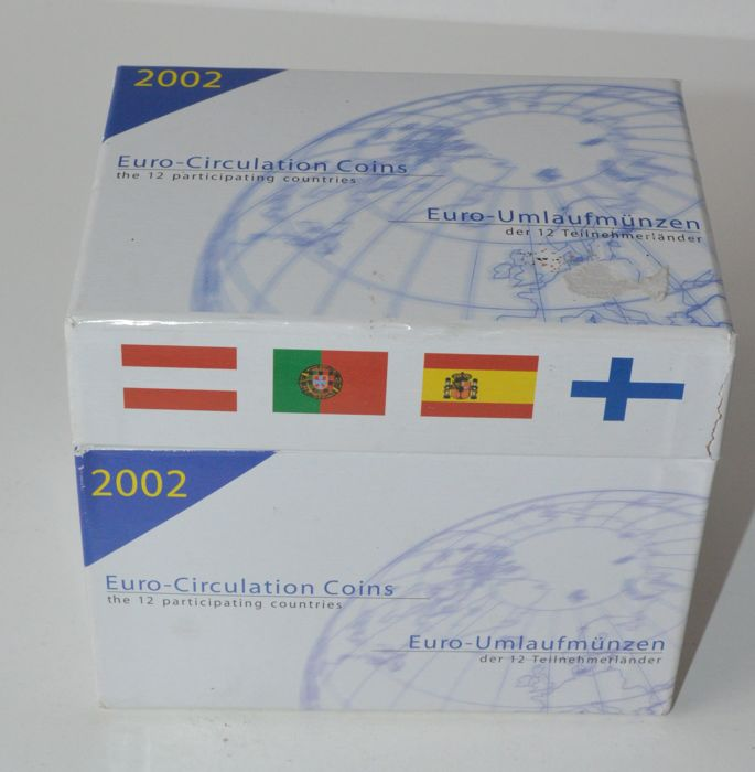 Europa - Box met 12 eurosets 2002 'First official issue of the Euro coins'
