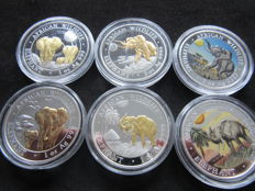 Somalia - 100 Shillings 2014/2017 'African Wildlife' (lot of 6 coins) - Silver part Gilded & Colored