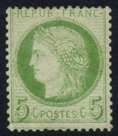 France 1872 – Cérès, variety 'thin line under the bottom frame', signed Calves – Yvert no. 53c