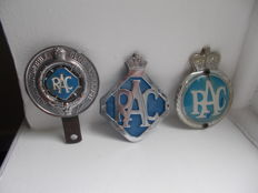 3 x vintage RAC  car badges all original dating from 1938 - 1960s chrome and enamel  last  one  from left to right alloy back and plastic front