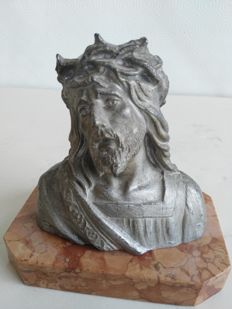 "Nice antimony bust of Christ ""Ecce Homo"", with marble base - France, early 20th century"