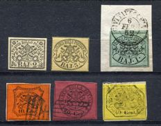 Papal States - 1852/67 - Lot of 6 stamps - Sassone no. 3A+4A+ 2+17+18+19
