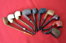 10 vintage pipes, Butz choquin, GBD pipes, Dr. Plumb, Liseuse, Electa, Sina, Meerschaum, Briar Root - mid 20th century