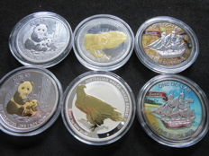 World - Lot of 6 coins (Australia, Cook Islands, Fiji & Niue) 2015/2017 - 1oz Gilded & Colored Silver
