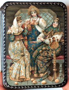 "Russian lacquer box  -""Fedoskino""- ""Three Spreads"" - plot on Pushkin's fairy tales"