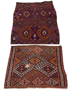 3590-3591 - VERY ANTIQUE KILIM authentic, original ITEMS FROM collection (TWO ITEMS 65 x 56 CM - 72 x 60 CM) With certificate of authenticity from the official expert (Galleriafarah1970)